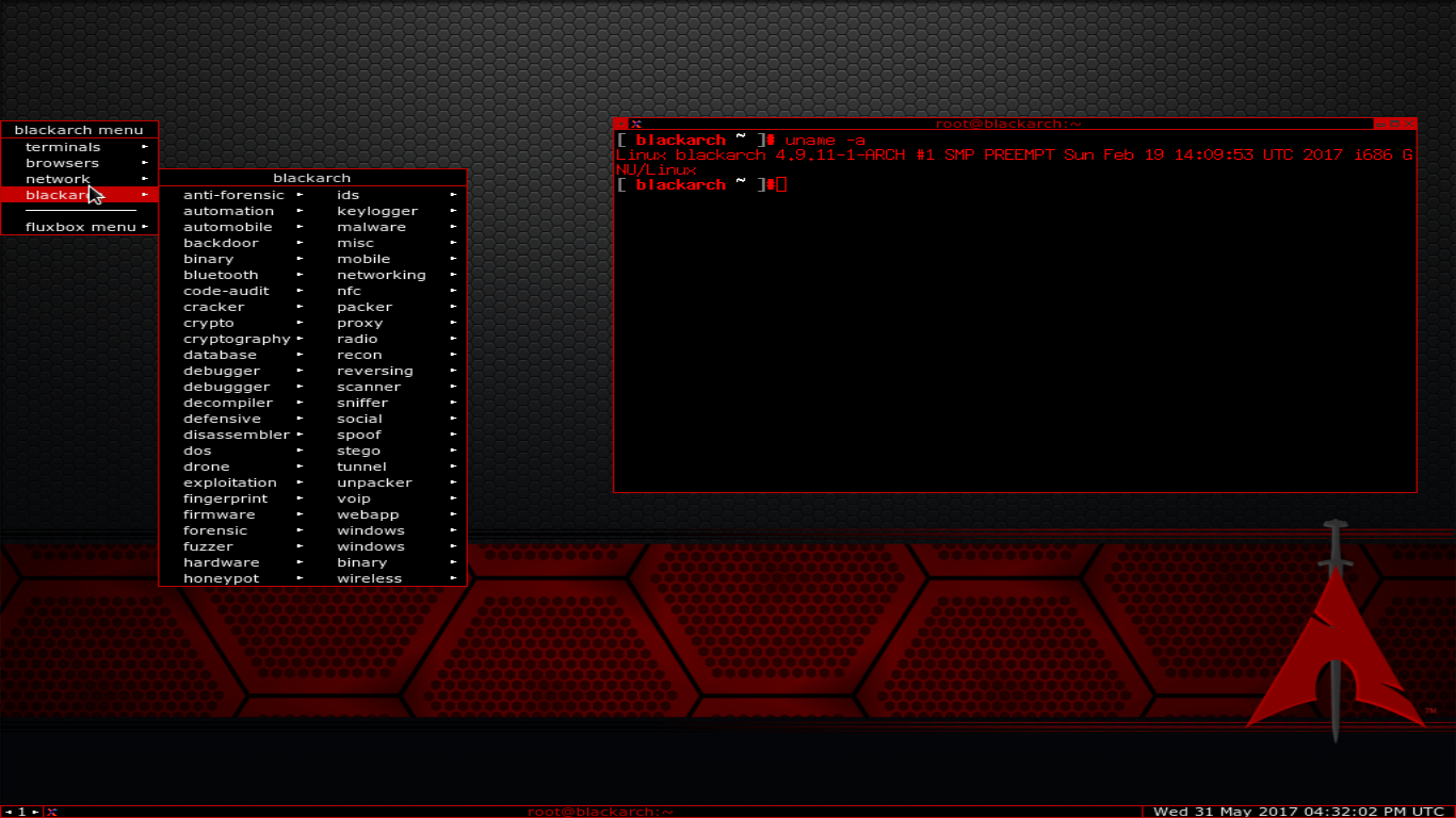 The Blackarch Keylogger in action