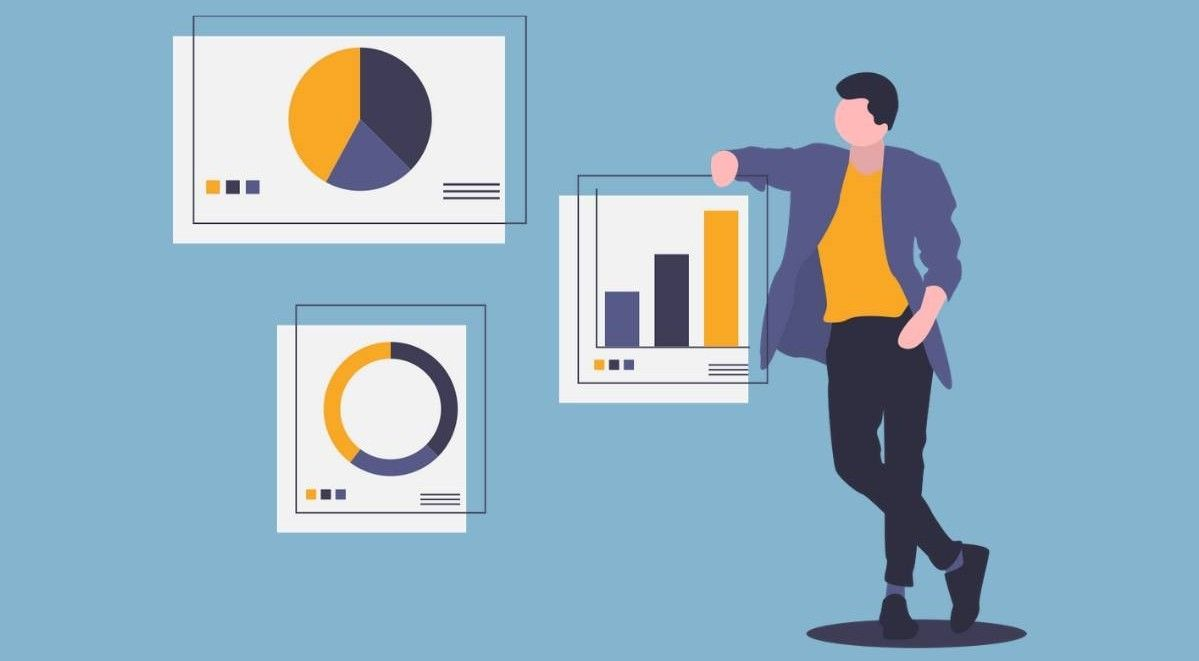 Animated image of a man standing next to charts depicting business analytics