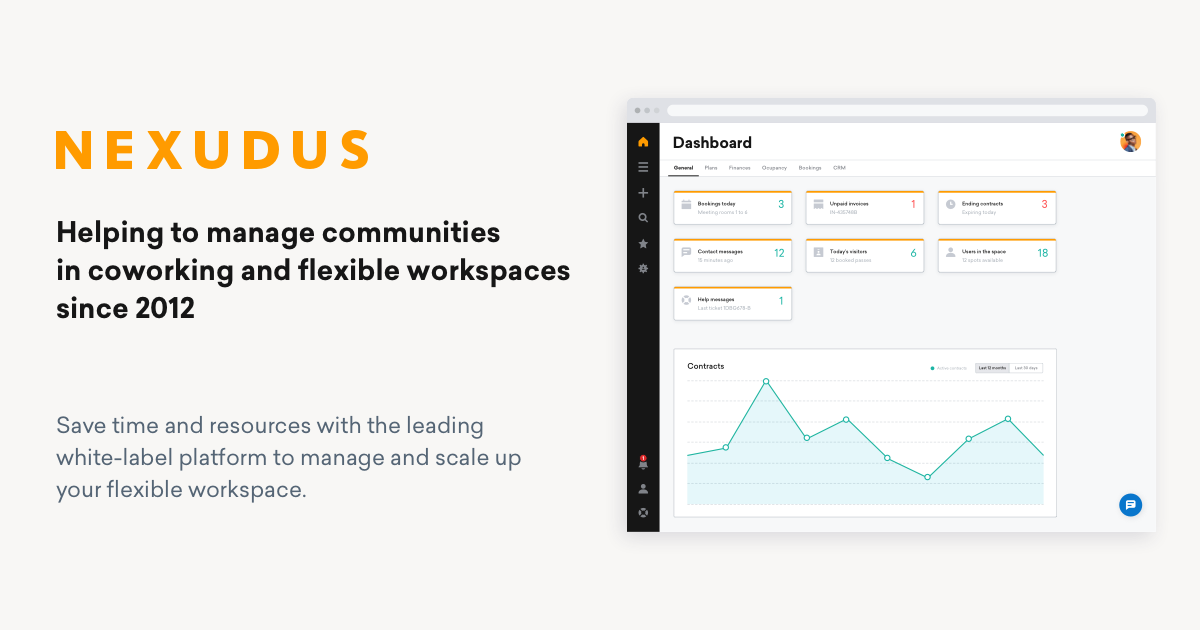 coworking space management software nexudus advert with a screenshot of portal dashboard