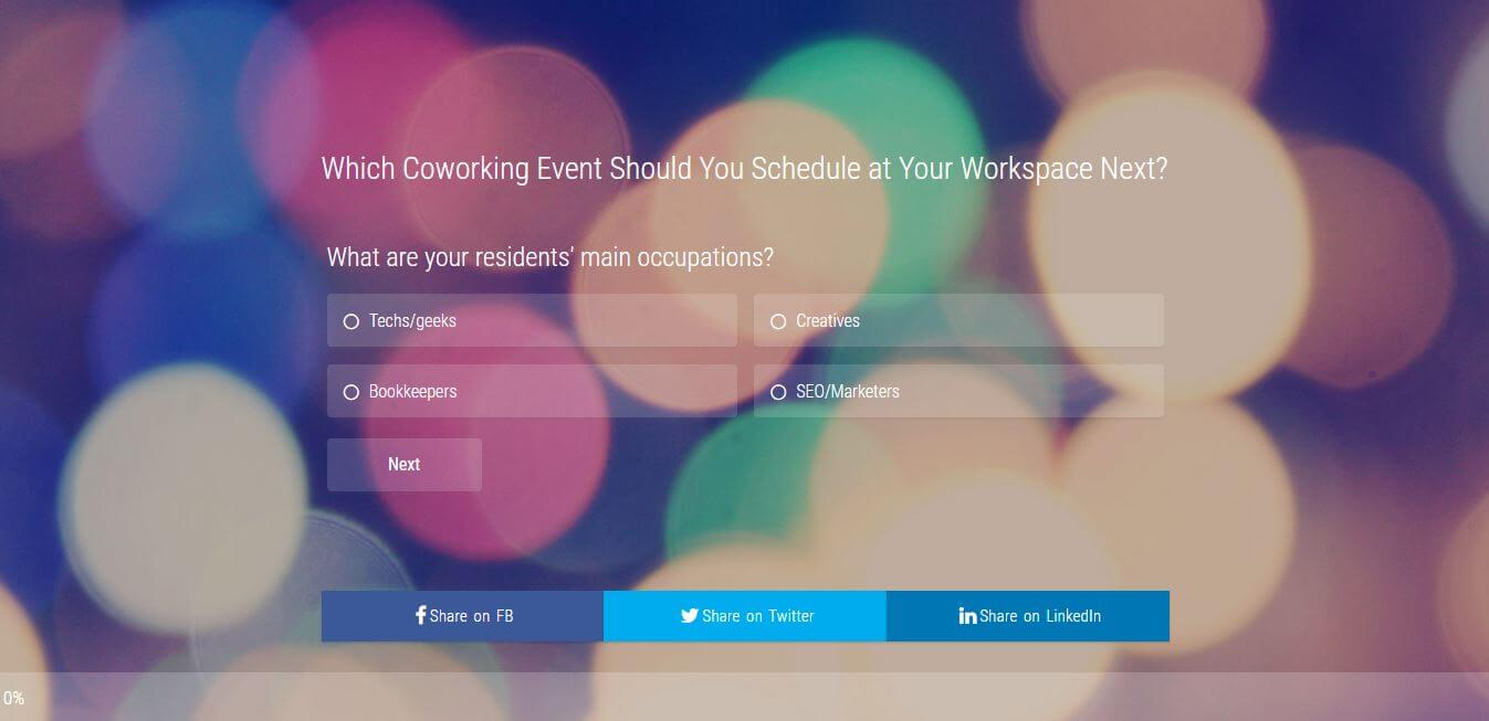 a survey question by andcards coworking space management software