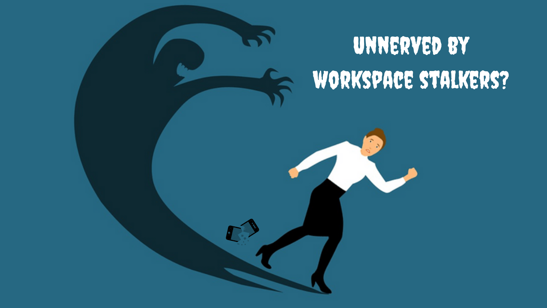 Depiction of workspace stalking- a woman running away from her shadow