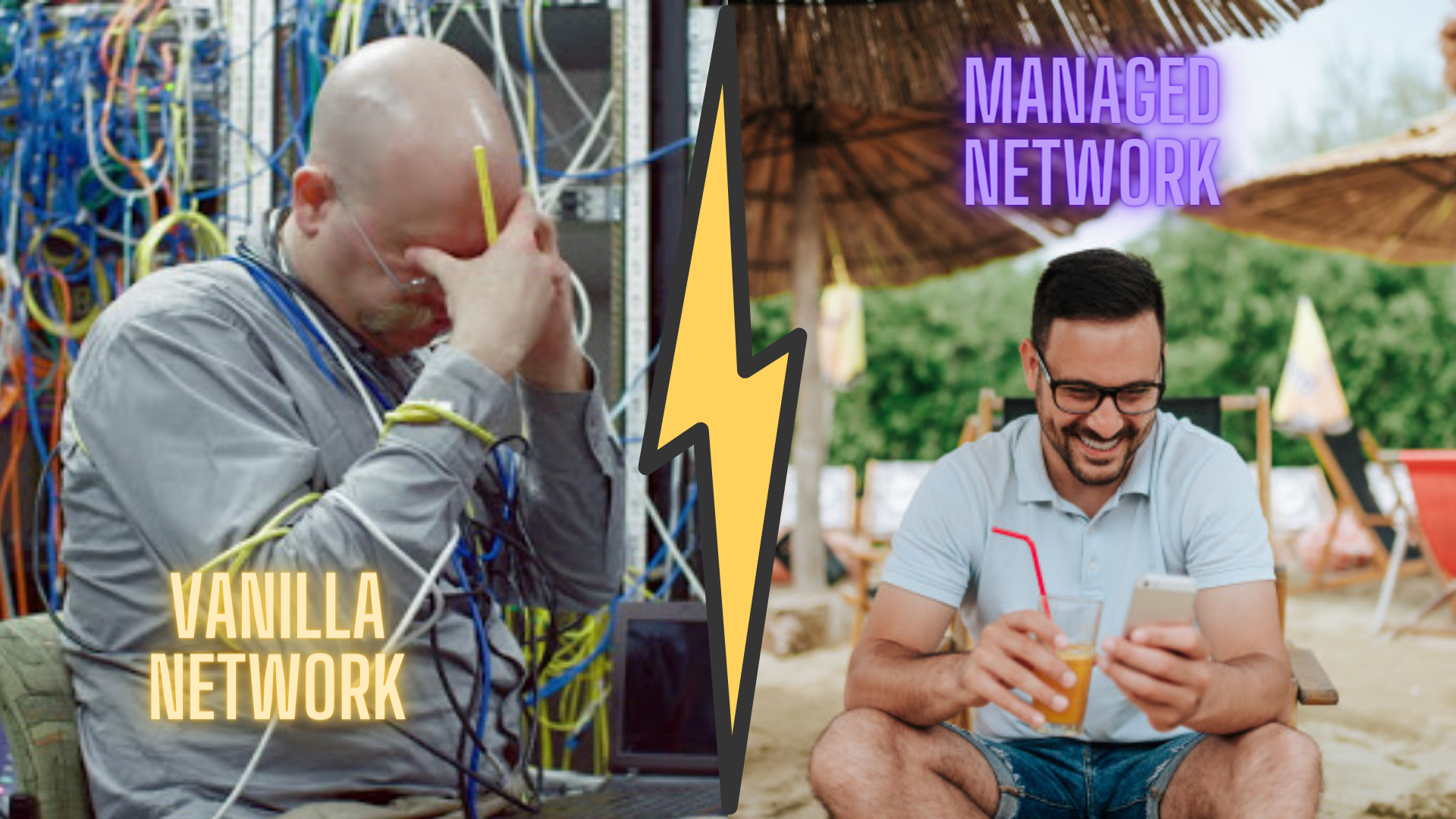 Two contrasting images of IT people depicting managed and unmanaged workspace networks