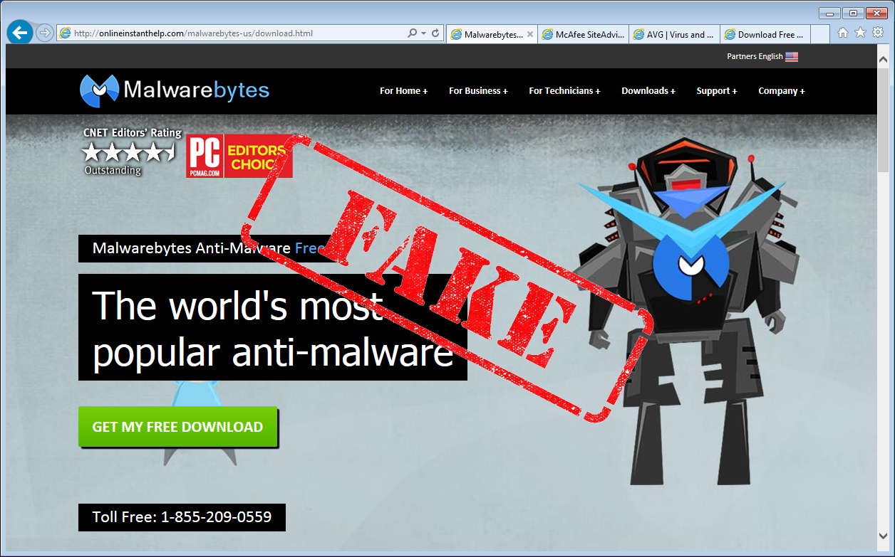 how computer virus spread through fake malwarebytes website